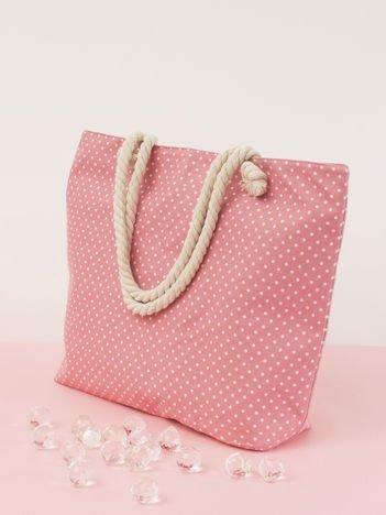 Różowa duża torba w groszki