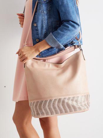 Różowa duża torba ze skóry ekologicznej