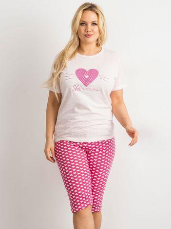 Różowa dwuczęściowa piżama PLUS SIZE