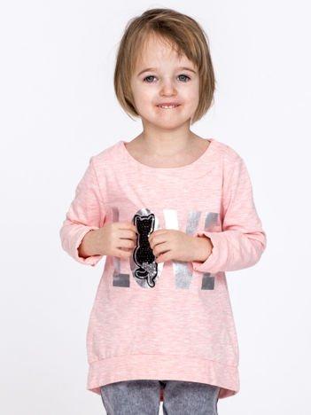 Różowa dziewczęca bluzka LOVE z cekinowym kotem