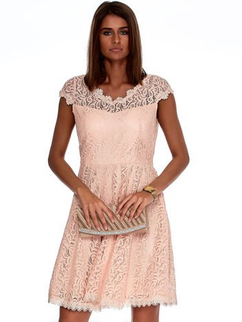 Różowa koronkowa sukienka damska