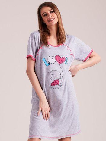Różowa koszula nocna z nadrukiem