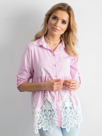 Różowa koszula w paski