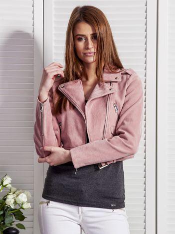Różowa krótka kurtka ramoneska