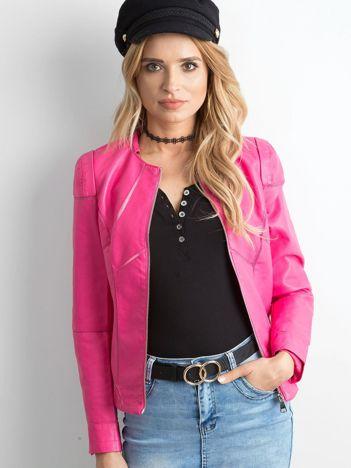 Różowa kurtka damska z imitacji skóry