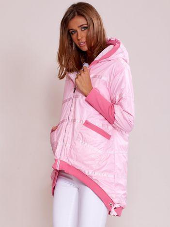 Różowa kurtka z szerokimi ściągaczami