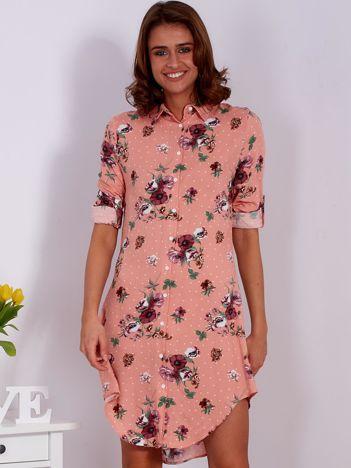 Różowa kwiatowa sukienka z kołnierzykiem