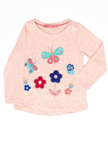 Różowa melanżowa bluzka dla dziewczynki z kolorowymi naszywkami
