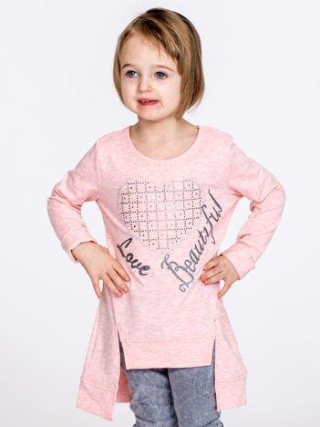 Różowa melanżowa bluzka dziewczęca z sercem z dżetów