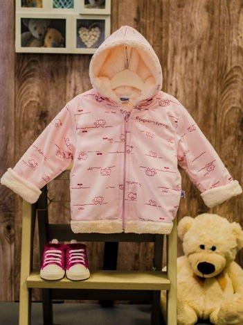Różowa niemowlęca bluza z kapturem dla dziewczynki