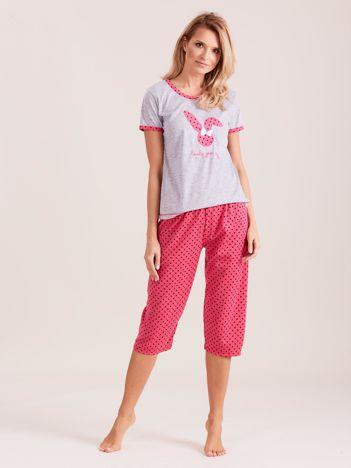 Różowa piżama damska w grochy