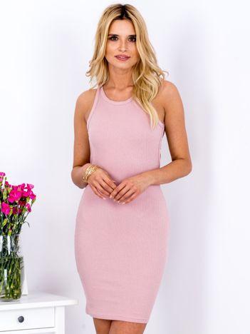 Różowa prążkowana sukienka tuba