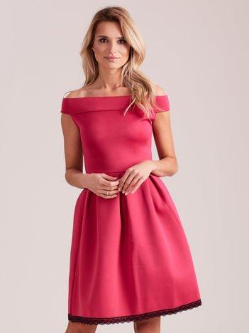 Różowa rozkloszowana sukienka z pianki