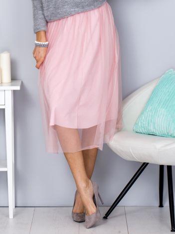 Różowa spódnica midi z tiulową warstwą