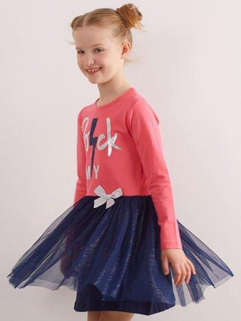 Różowa sukienka z bawełny dla dziewczynki