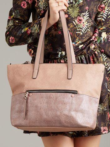 Różowa torba damska shopper z ekoskóry