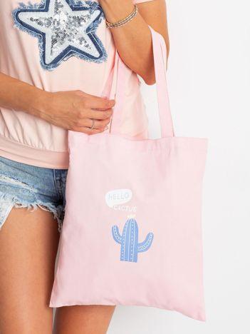 Różowa torba materiałowa z nadrukiem