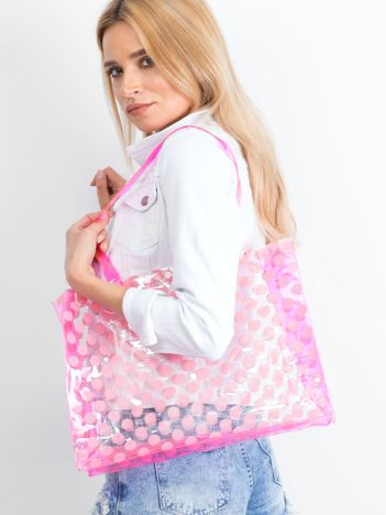 Różowa transparentna torba w grochy