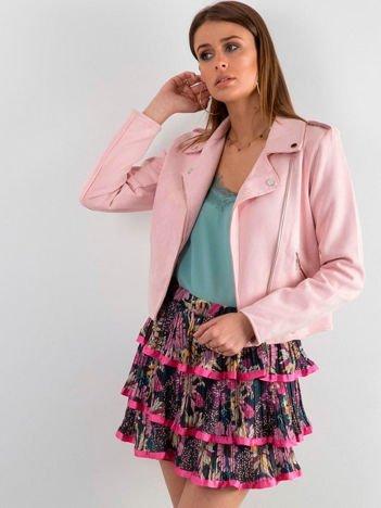 Różowa wzorzysta spódnica z falbanami
