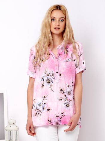 Różowa zwiewna bluzka ombre w kwiaty