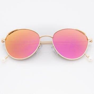 Różowe Damskie Okulary przeciwsłoneczne Lustrzane Z PERŁAMI Na Zausznikach
