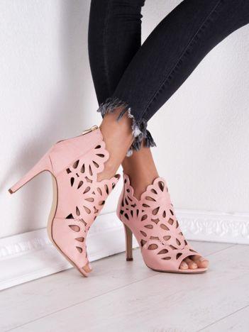 Różowe ażurowe sandały SABATINA na szpilkach