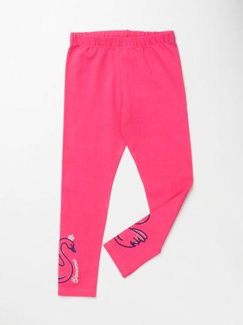 Różowe legginsy dla dziewczynki z aplikacją