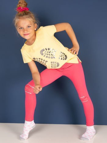 Różowe legginsy dla dziewczynki z aplikacją na kolanach