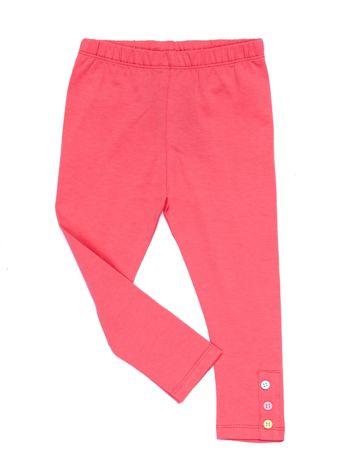 Różowe legginsy dla dziewczynki z kolorowymi guzikami