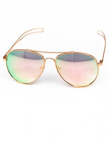 Różowe okulary PILOTKI AVIATORY lustrzanka