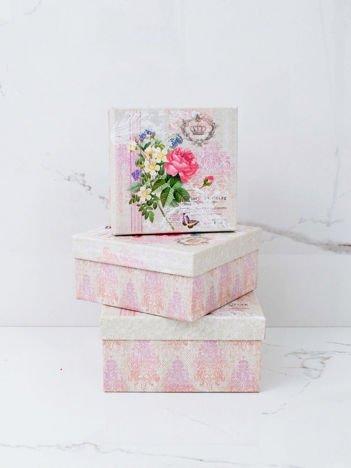 Różowo-beżowy zestaw pudełek vintage