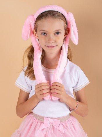 Różowo-biała pluszowa opaska