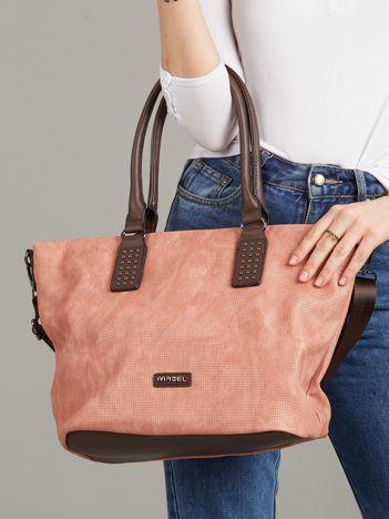 Różowo-brązowa torba shopper