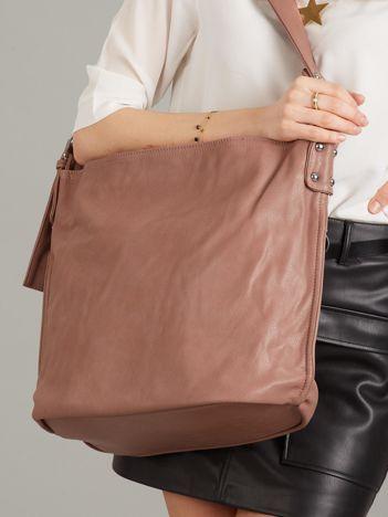 Różowo-brązowa torba ze skóry ekologicznej