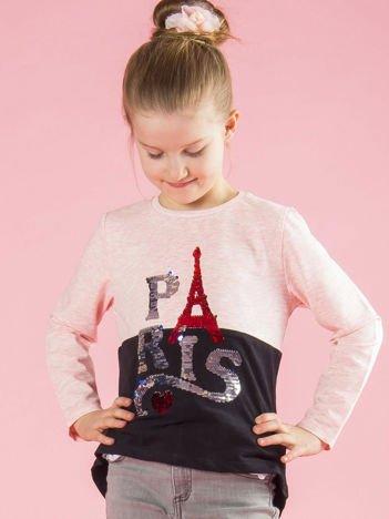 Różowo-czarna bluzka dziewczęca z cekinami