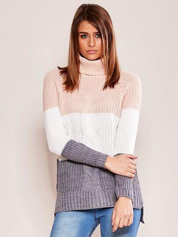 Różowo-ecru sweter golf