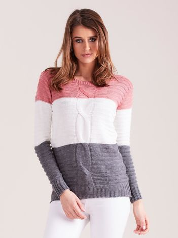 Różowo-grafitowy sweter w szerokie pasy
