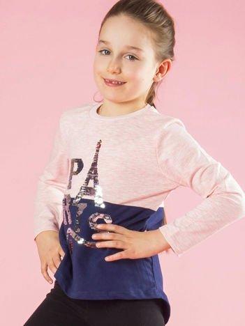 Różowo-granatowa bluzka dziewczęca z cekinami