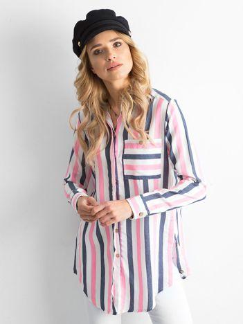 Różowo-granatowa tunika koszulowa w paski
