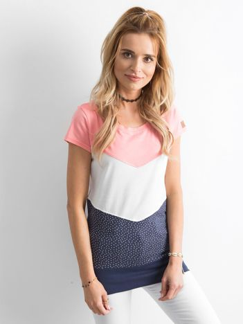 Różowo-granatowy długi t-shirt