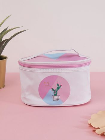 Różowo-niebieska kosmetyczka kuferek z kaktusem