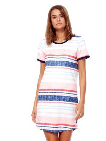 Różowo-niebieska sukienka z nadrukiem w paski