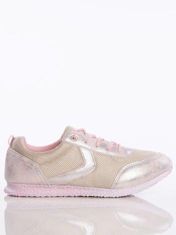 Różowo-perłowe cieniowane buty sportowe na piankowej podeszwie