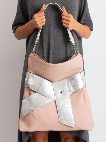 Różowo-srebrna torba z ekoskóry