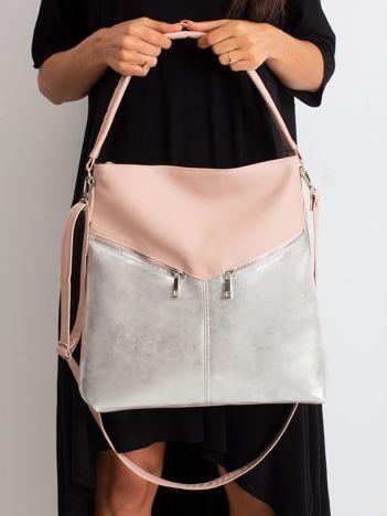 Różowo-srebrna torba ze skóry ekologicznej