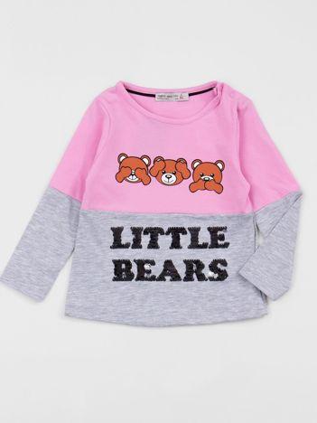 Różowo-szara bluzka dziecięca z nadrukiem