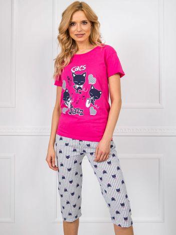 Różowo-szara piżama bawełniana
