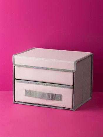 Różowo-szary organizer z szufladką