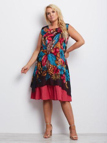 Różowo-turkusowa sukienka plus size Indiana