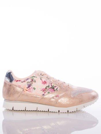 Różowoperłowe buty sportowe Vinceza z kwiatowym motywem na boku cholewki